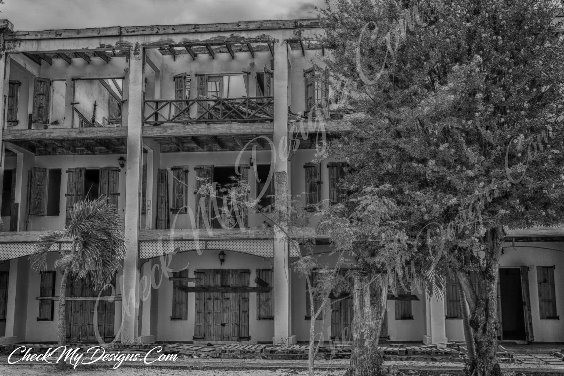 St Maarten hurricane hotel black and white