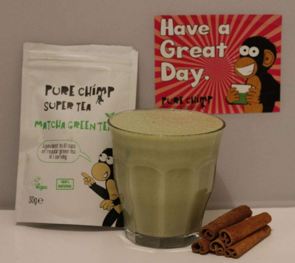 Drink with matcha powder by Pure Chimp and Baileys