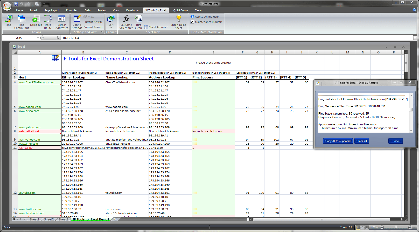 Check The Network - IP Tools for Excel Addin / Plug-in
