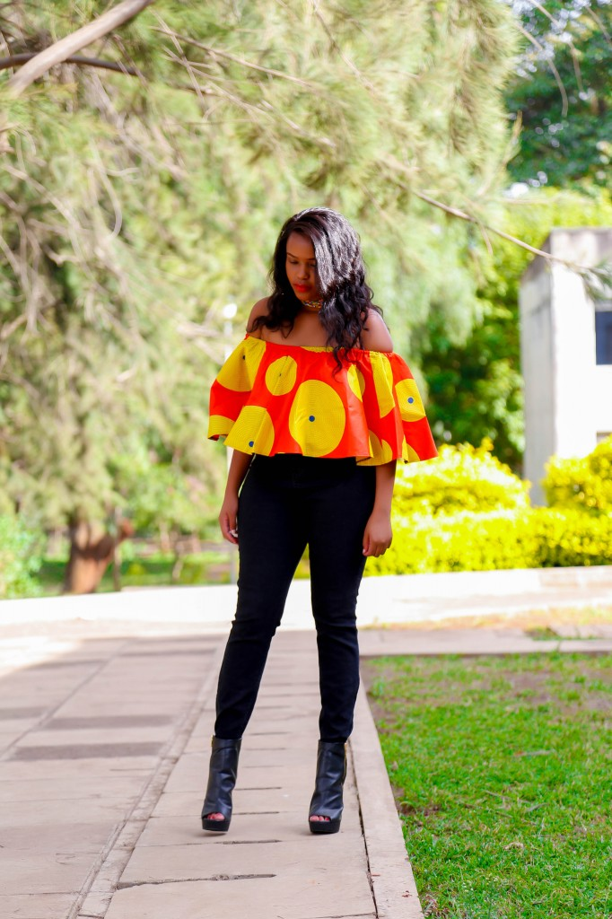 Cheekily Chic Bright and Breezy Ankara Off Shoulder 1