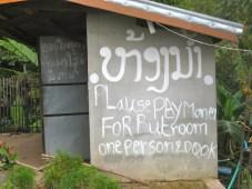 funny roadside sign in Laos