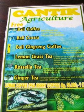 Cantik Coffee Plantation Coffee Tasting Menu bali indonesia