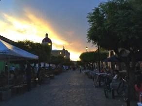 killer sunset pedestrian walking street Granada Nicaragua, Calle La Calzada