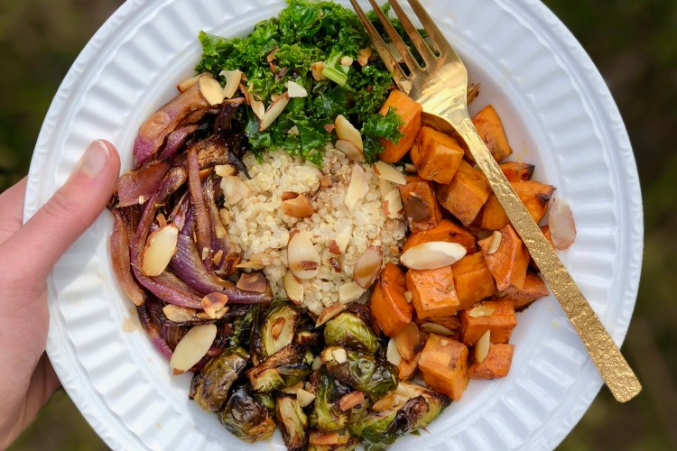 Everyday I'm brusselin' with this seasonal Sweet Potato and Brussels Sprout Buddha Bowl! Perfect comfort bowl for fall. Vegan, whole grain, and delicious.