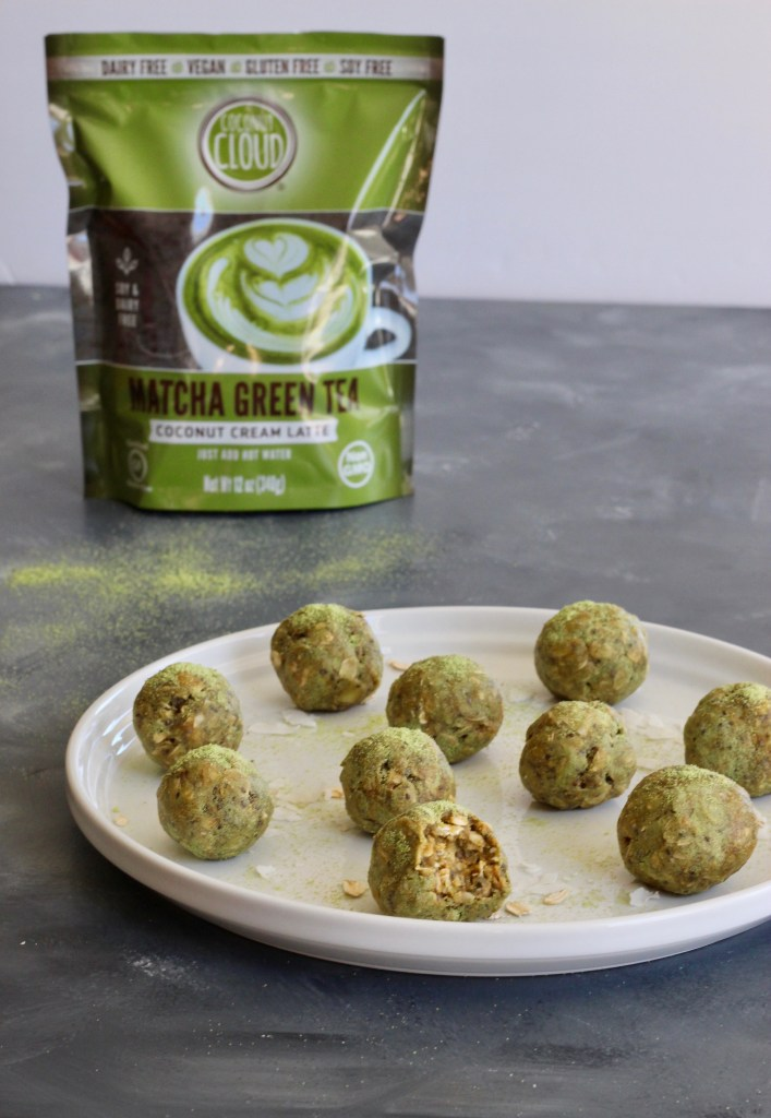 These protein and fiber packed energy bites are filled with nuts, seeds, coconut, and matcha. Naturally dairy-free, vegan, and gluten-free!