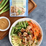 Thai Peanut Tofu Buddha Bowl with Rice & Seasonal Vegetables