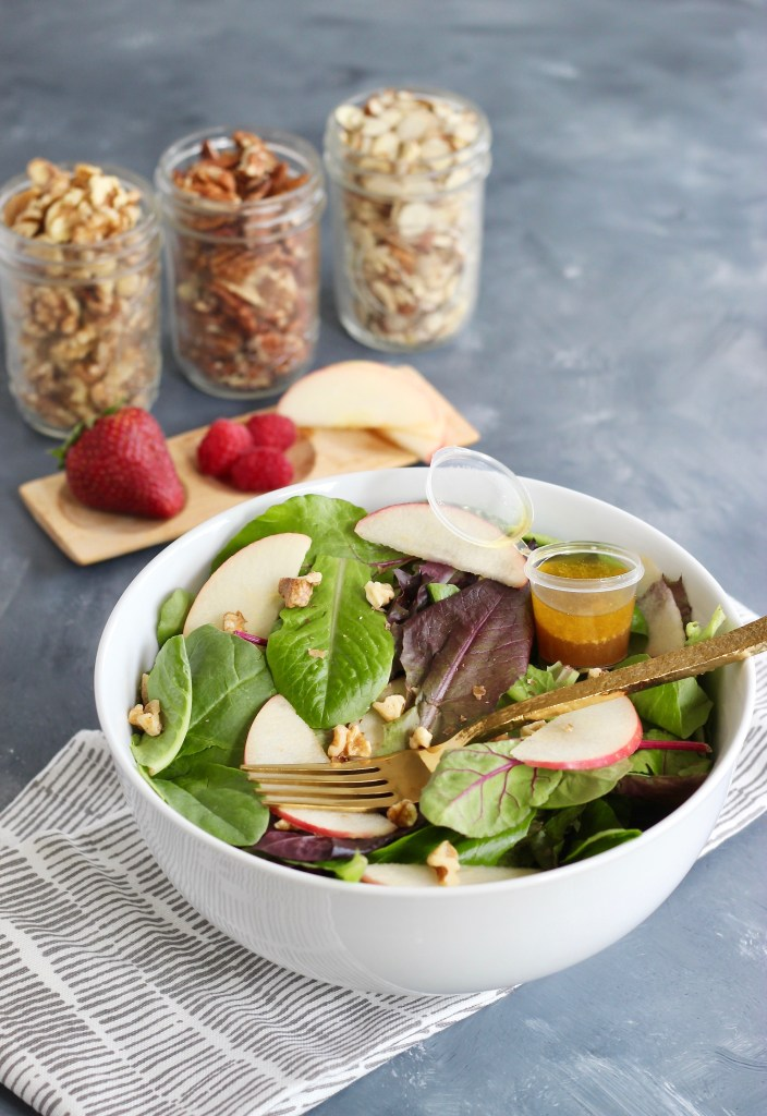 This 5-minute Simple Fruit & Nut Salad proves that a quick salad can be both flavorful and easy. Perfect for a single meal or multiply for more. Completely customizable, accommodates dietary preferences, and meal prep friendly. This recipe also includes the dressing with a homemade dijon vinaigrette! #glutenfree #vegan #dairyfree  #mealprep #yogurtparfait #simpleingredients #customizable #lunch #dinner #CheerfulChoices