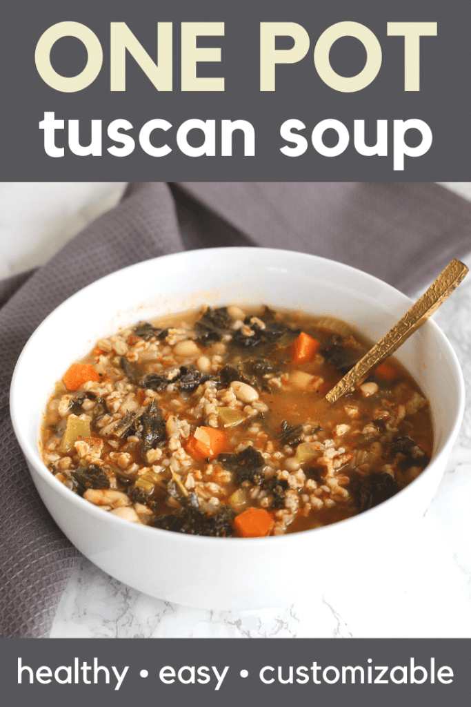 This one-pot Tuscan Farro Soup is the perfect combination of protein, hearty whole grains, and healthy vegetables. Freezer friendly and vegan options too!