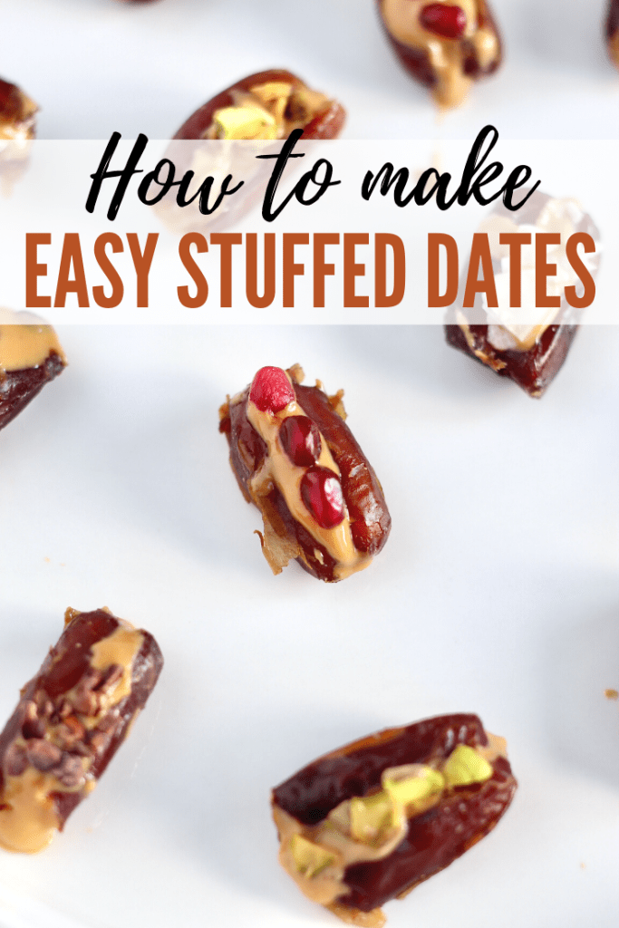 Looking for a sweet snack that comes together in less than 5 minutes? Try these healthy vegan stuffed dates filled with any nut butter and toppings of your choice. Perfect for an energizing snack or party appetizer. #HealthySnack #StuffedDates #Vegan #3Ingredients