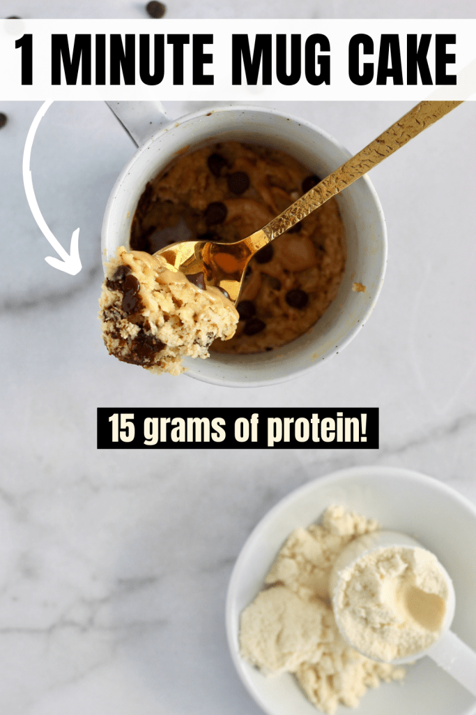 This protein mug cake is the healthy sweet treat you've been looking for. Perfect to enjoy post-workout or as a healthy dessert. Gluten-free, vegan, nut-free, and sugar-free options too! #MugCake #HealthyRecipes #ProteinPowder