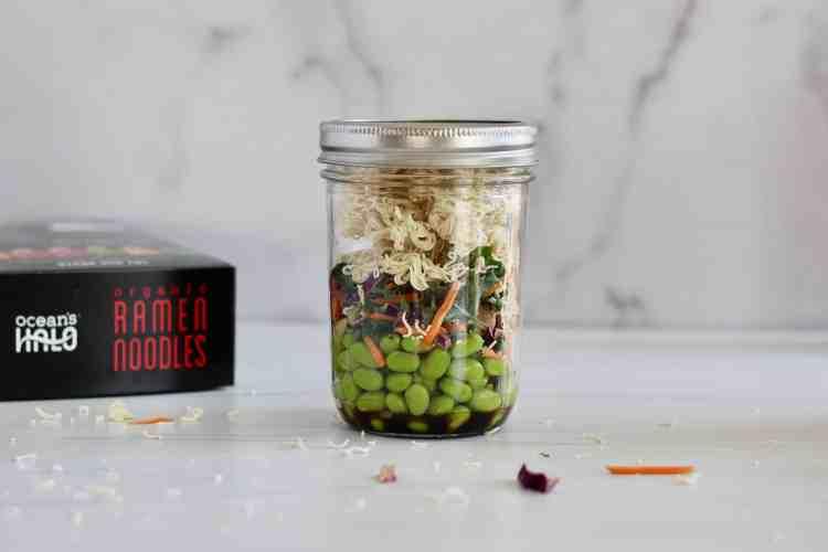 Layered jar with edamame, kale, and ramen
