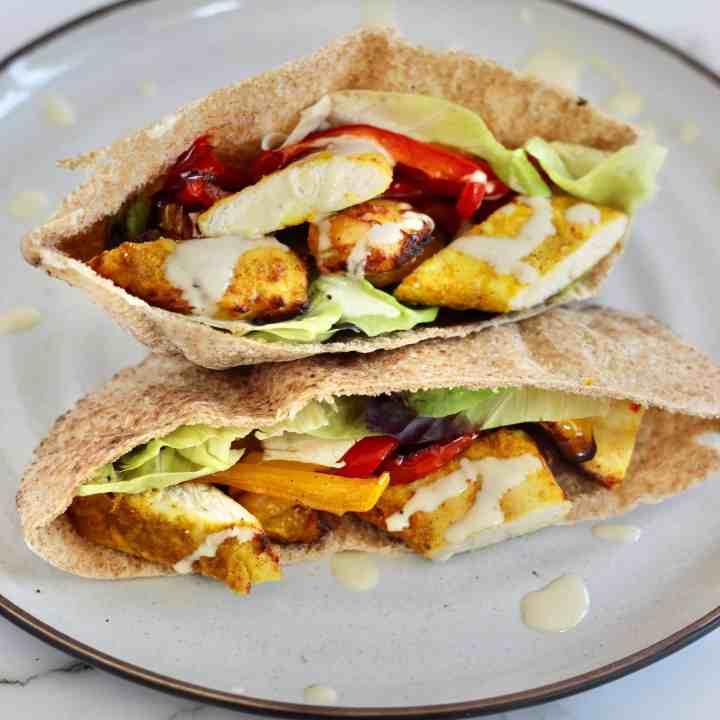Chicken Fajita Pitas with Tahini Sauce
