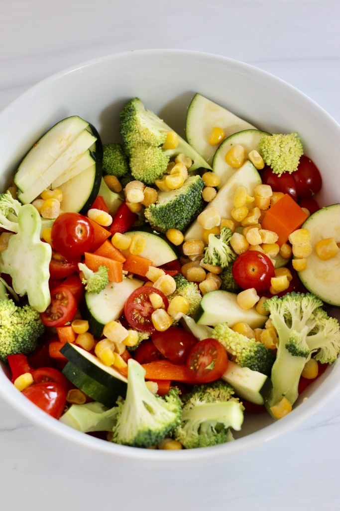 Colorful vegetables in a white bowl