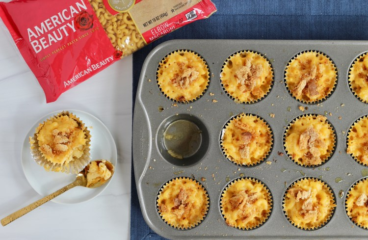 Baked mac and cheese bites in a muffin tin