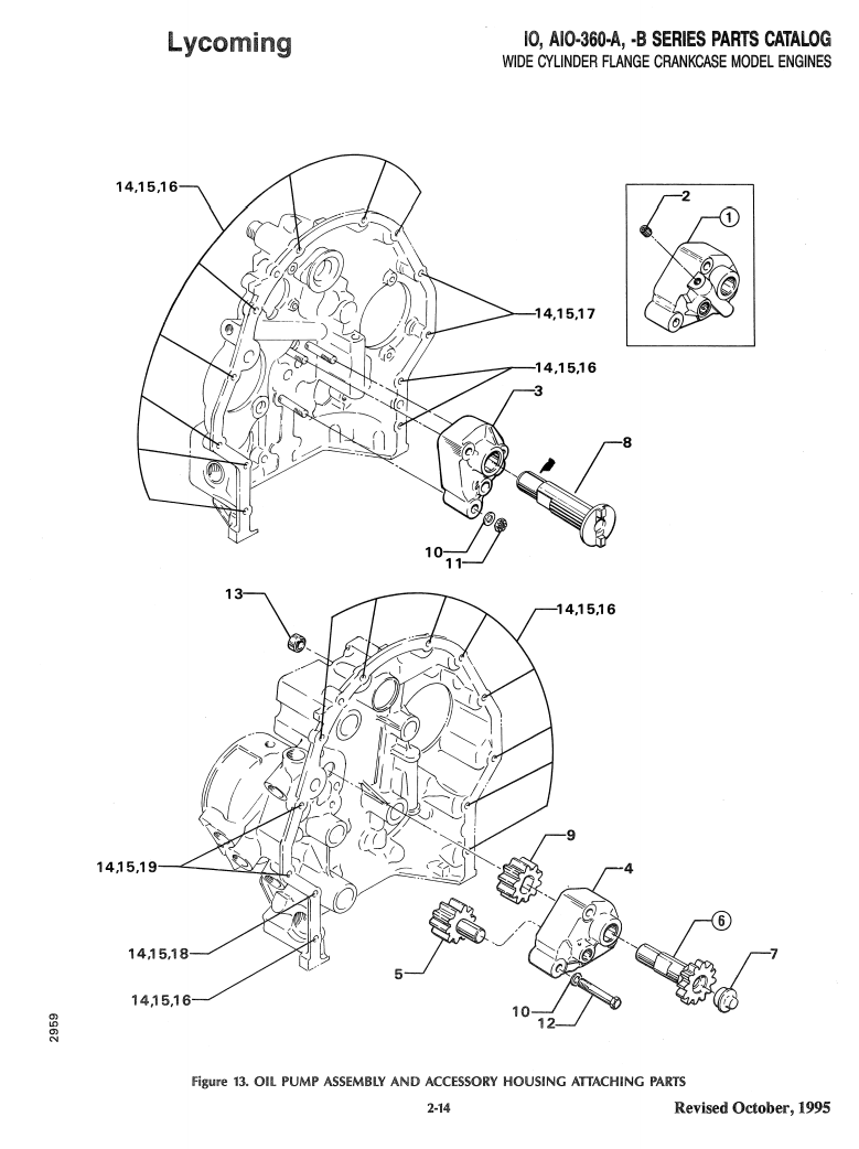 medium resolution of exploded view of lycoming oil pump