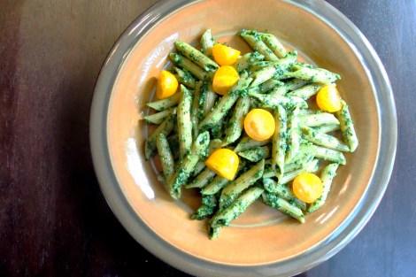 Raw kale pesto pasta