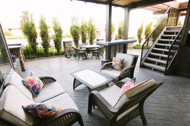 Cheers B&B Amenities include this Guest Patio, with stone floor and comfortable patio furniture