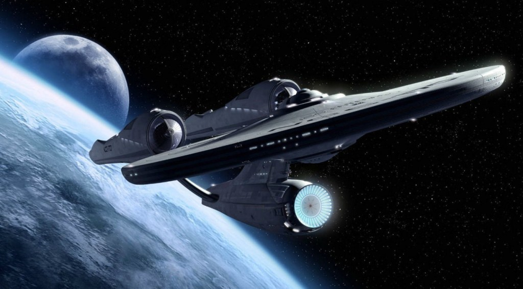 starship enterprise above a planet