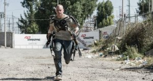 matt damon as a cyborg, running