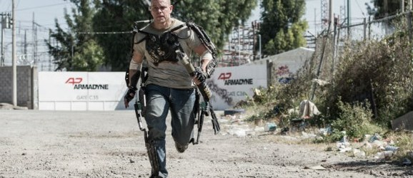 matt damon as a cyborg, running