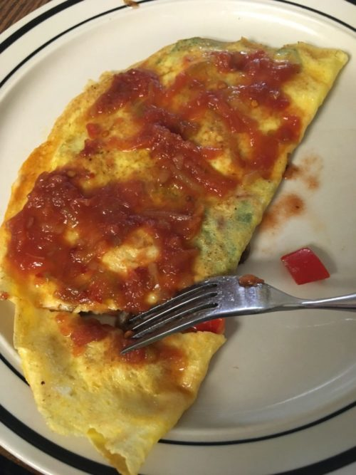omelette with salsa - cheeseandglory