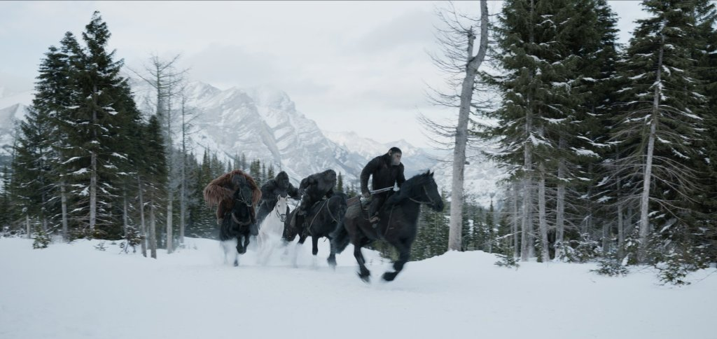 bipedal apes riding horses through the snow - war for the planet of hte apes