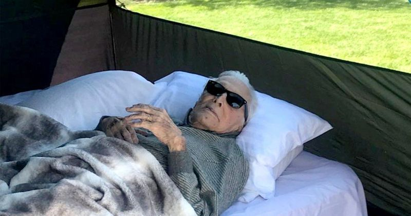 Kirk Douglas goes camping at 102 proving that age is just