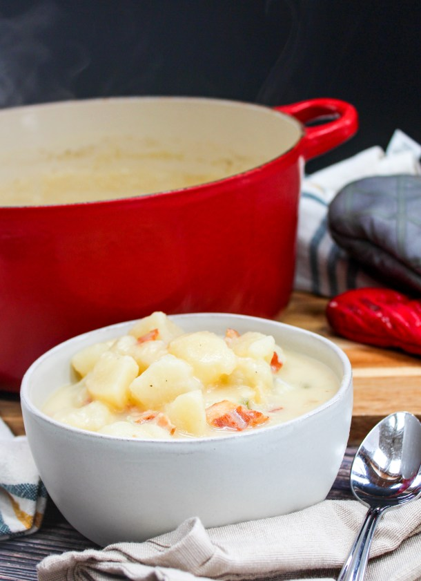Pepper Jack Potato and Bacon Soup in a bowl