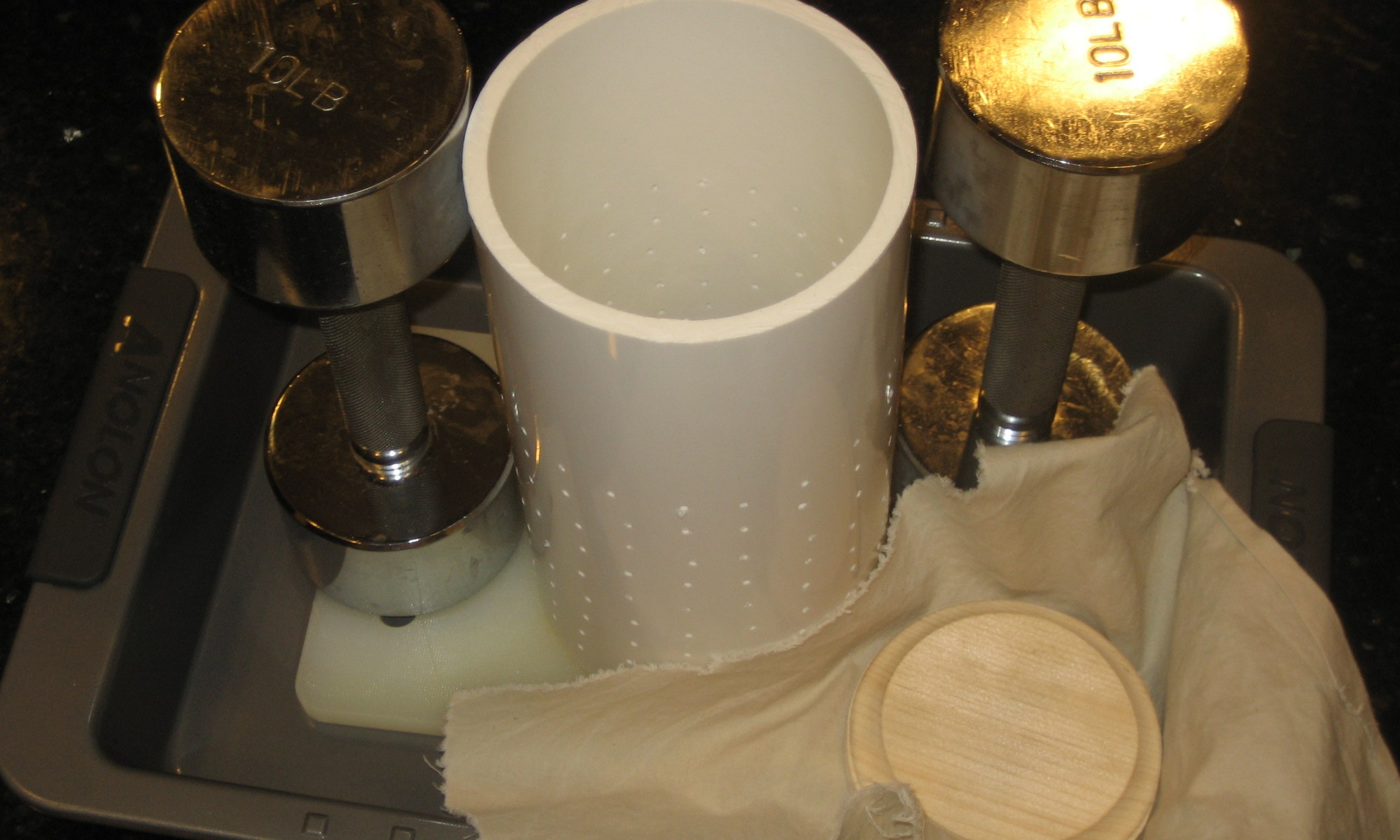 Home Made 4 in, 103 mm Drilled PVC Hoop, Wooden Follower With Cheesecloth Wrap, & Improvised Weights - CheeseForum.org