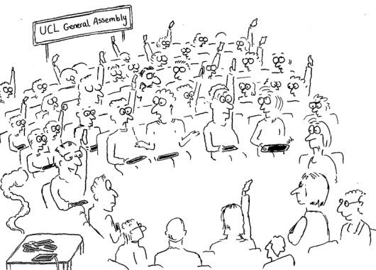 Cartoon of students voting at the SU UCL General Assembly