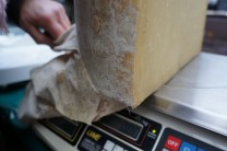 unwrapping cloth from Westcombe Cheddar