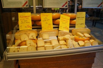 Cheese shop in Leipzig with cheese from Saxony