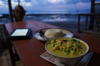 seafood curry at the beach