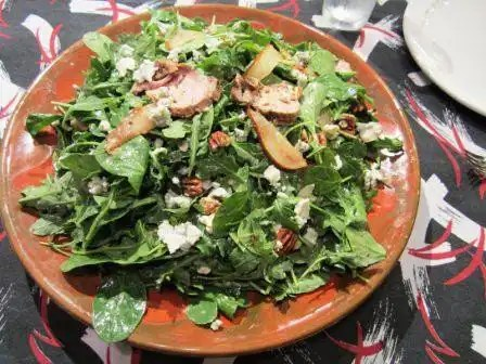 Pork Tenderloin Salad with Grilled Pear, Goat Cheese and Candied Pecans