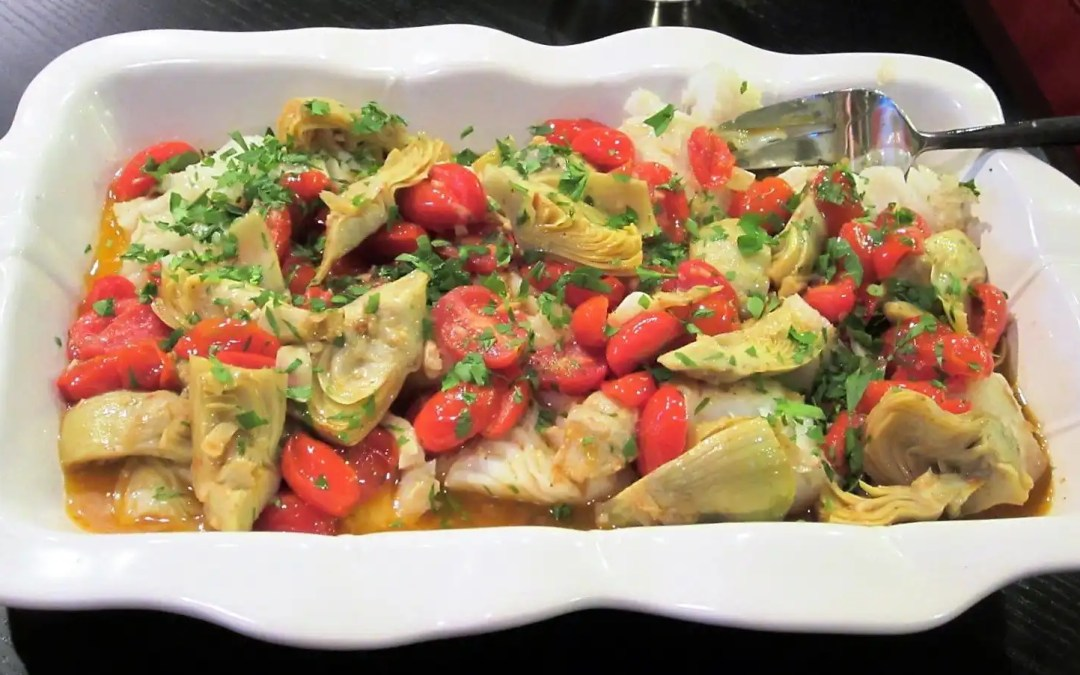 Cod Escabeche with Tomatoes and Artichoke Hearts