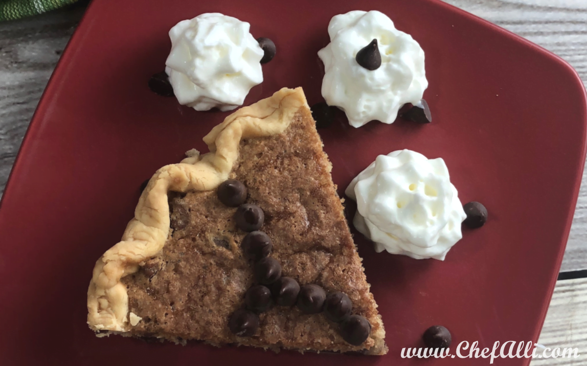 A chocolate chip cookie pie is actually MUCH easier and faster to make than chocolate chip cookies. Rich, ooey-gooey, and decadent, this dessert will immediately become a family favorite!