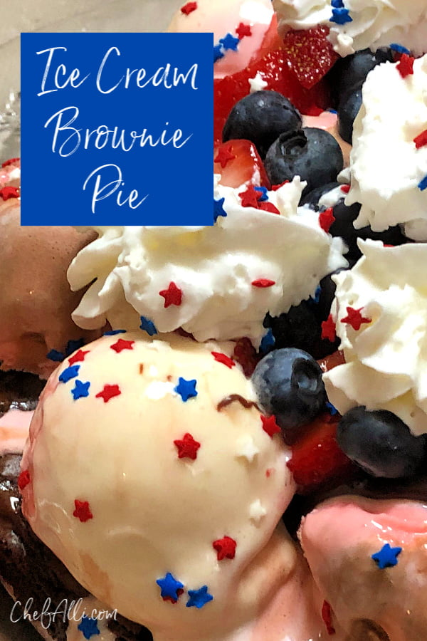 Red White and Boom! Ice Cream Brownie Pie is so fun, it should be illegal! A delicious brownie base is piled high with Neapolitan ice cream, hot fudge topping, berries, bananas, whipped cream and, of course, sprinkles!