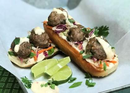 Open-face Asian Meatball Subs are the perfect summer meal.