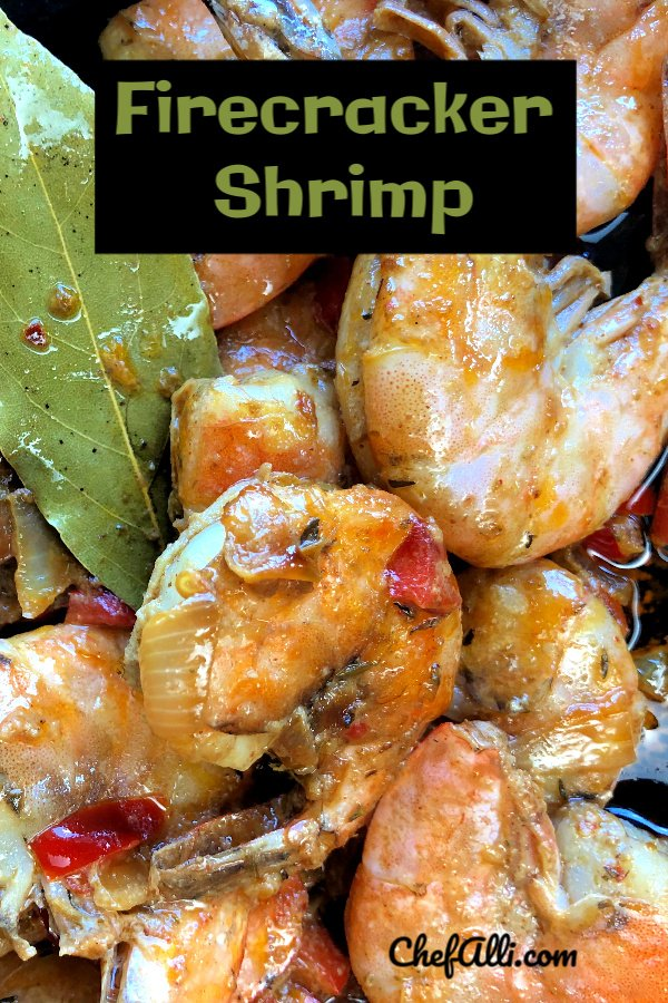 """Firecracker Shrimp is my absolute favorite shrimp dish! I love making it in my cast iron skillet, served with some good, crusty bread for sopping up the sauce. I prefer making Firecracker Shrimp with raw, shell-on shrimp because the shells """"cocoon"""" that delicious sauce around the shrimp, making them even more flavorful."""