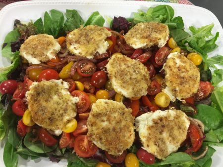 Tomato Salad with Pecan-Crusted Mozzerella Rounds