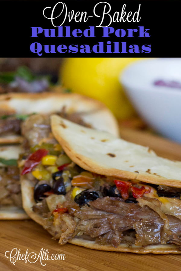 The quesadilla.  So simple and humble, the perfect vehicle for using up leftover cooked pulled pork!  And did you know you can make quesadillas in your OVEN?? Sure makes them fast and easy. Your family will fall in love with Pulled Pork Oven Quesadillas. #pulledpork #quesadillas #tortillas #cheesy #ovenbaked #sheetpanmeal