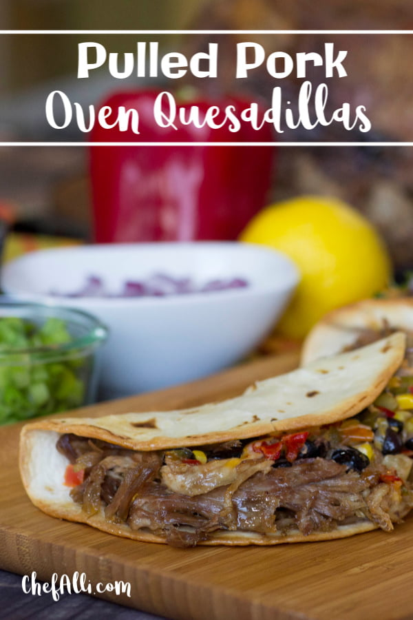 The quesadilla. So simple and humble, the perfect vehicle for using up leftover pulled pork! And did you know you can make quesadillas in your OVEN?? Sure makes them fast and easy. Your family will fall in love with Pulled Pork Oven Quesadillas. #LodgeCast Iron #pulledpork #quesadillas #tortillas #cheesy #ovenbaked #sheetpanmeal
