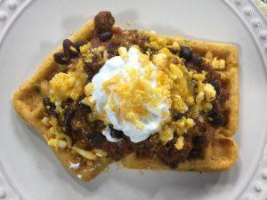 Chili and Cornbread Waffles