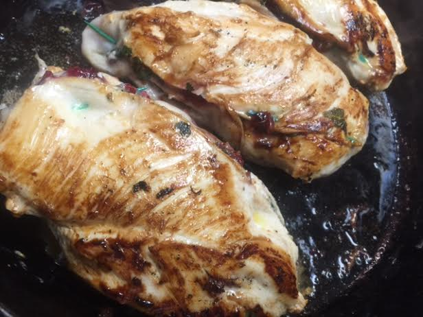 Cranberry Chutney, Goat Cheese and Spinach Stuffed Chicken Breasts