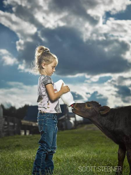 Girl and her cow