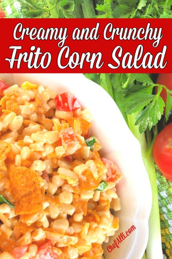 a bowl of corn salad with fritos