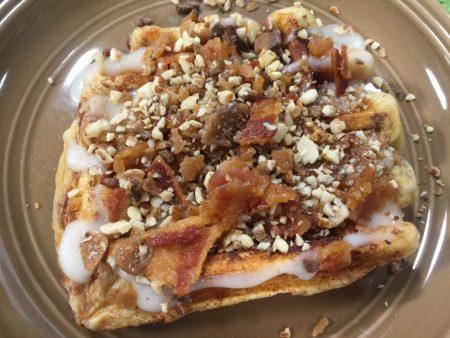 Crispy Bacon topped Waffles