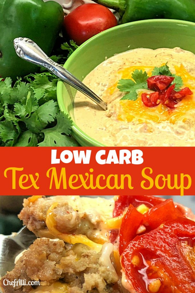 Bowl of low carb tex mexican soup with cream cheese, ground beef, diced tomatoes and green chiles