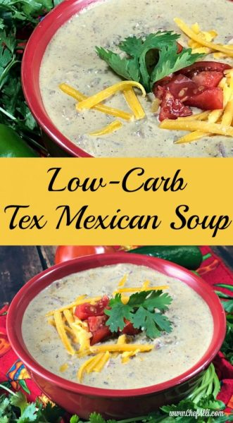I love making easy meals for my family and this is the perfect easy low-carb soup recipe!  There are only four main ingredients in this Low-Cab Tex Mexican Soup, ground beef, cream cheese, a can of tomatoes and diced green chilies, chicken broth, and a few seasonings.  I always have these ingredients on hand, so this is our perfect go-to meal on about any occasion!