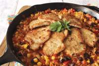 The perfect one-pan meal - Southwest Pork Cutlets with Calico Rice.